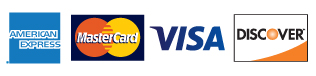 credit card logos American Express, Visa, MasterCard, and Discover